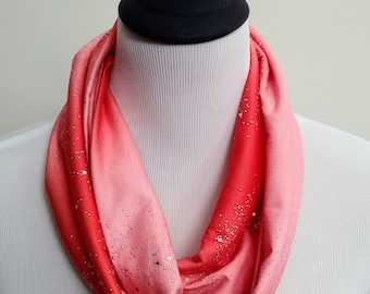 Coral Shimmer Infinity Scarf, Silver Glitter Circle Scarf, Loop Scarf, Forever Scarf, made in Rhode Island