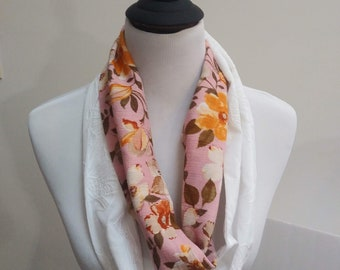 Pink Floral with White Infinity Scarf, Circle Scarf, Loop Scarf, Cotton Scarf, Embroidered Scarf, Lightweight Scarf