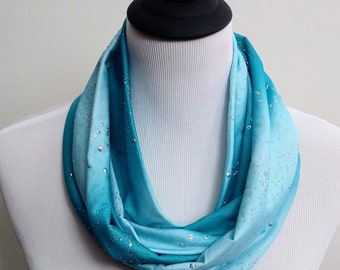 Light Turquoise Shimmer Infinity Scarf, Sparkle Infinity, Circle Scarf, Loop Scarf, Forever Scarf