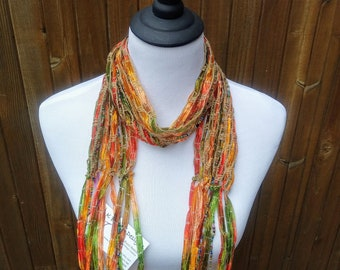 Copper Hues Beaded Ribbon Scarf, Blue, Green, Rust, Harvest Colors, Flowing Ribbons with Beads, Handmade in USA, Free Shipping