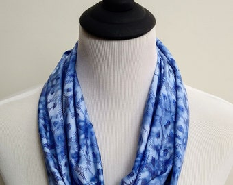 Blue Ice Shimmer Infinity Scarf, Sparkle Circle Scarf, Snake Print Loop Scarf, Forever Scarf, made in Rhode Island