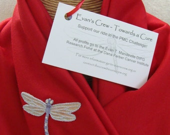 Red Jersey Dragonfly Infinity Scarf - Evan's Crew - help raise funds for the Evan T. Mandeville DIPG Research Fund at Dana Farber
