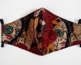 Handmade Cotton Mask, 100% Cotton Face Mask, Tattoo Sugar Skull Face Covering, Adult Size Mask, Made in USA, Free Shipping