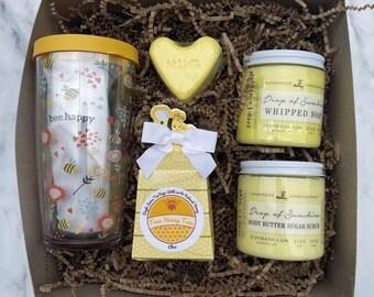 Bee Happy Sunshine Yellow Gift Box Set No. 78 -gift for women - birthday gift - gift set - bee mug - tea - whipped Soap - bath bomb - gift
