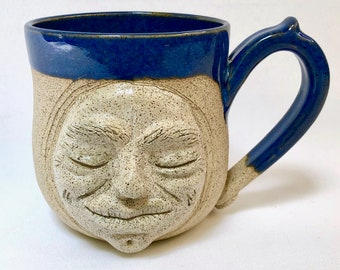 Handmade Pottery, Handmade Pottery Mug, Moon, Face, Halloween Gift, Dad Gift