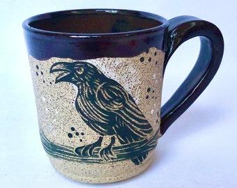 Handmade Pottery, Handmade Stoneware Mug, Moon, Raven, Halloween Gift, Mom Gift