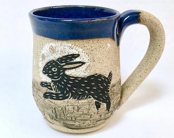 Handmade Pottery Mug, Handmade Stoneware Mug, Rabbit, Stone, Birthday Gift, Mom Gift