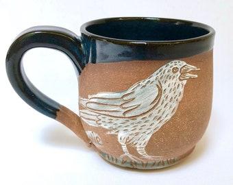Mug, Handmade Stoneware Mug, Raven, Moon, Halloween Gift, Mom Gift