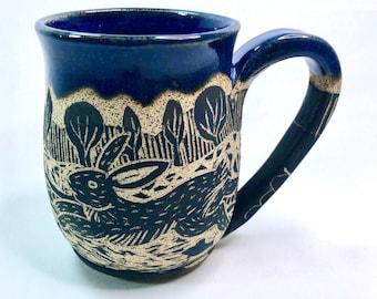 Pottery Mug, Handmade Mug, Rabbit, Garden, Halloween Gift, Wife Gift