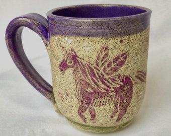 Pottery Mug, Handmade Mug, Unicorn, Halloween Gift, Daughter Gift
