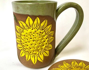Pottery Mug, Handmade, Stoneware Mug, Sunflower, Mug lid, Set, Birthday Gift, Mom Gift