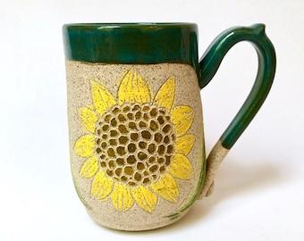 Pottery Mug, Handmade Mug, Sunflower, Birthday Gift, Mom Gift