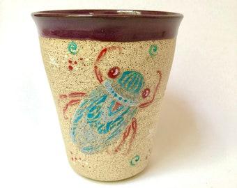 Pottery, Handmade Pottery, Tumbler, Cicada, Birthday Gift, Wife Gift