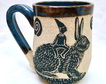 Handmade, Pottery Mug, Stoneware Mug, Fairy, Rabbit, Birthday Gift, Girlfriend Gift