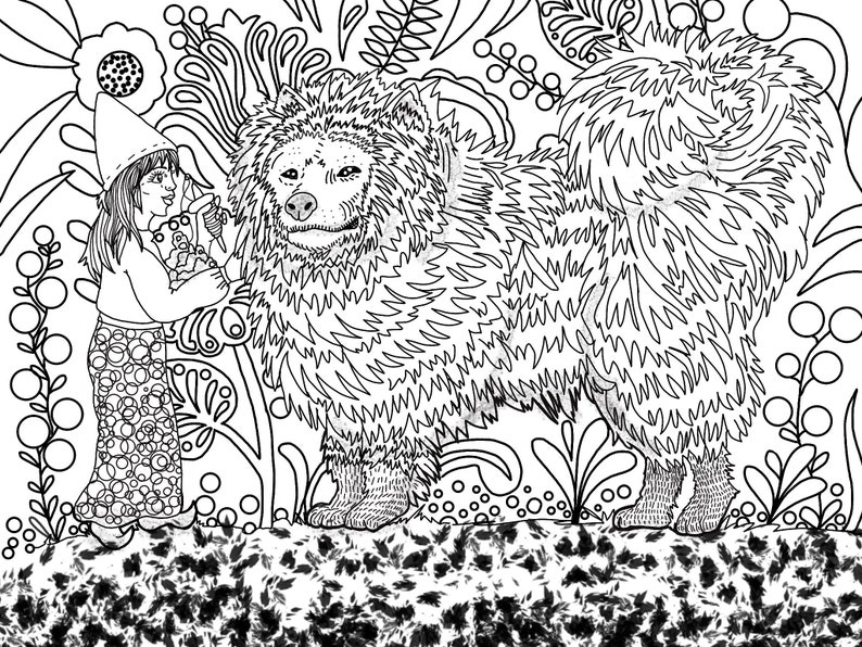 Adult Coloring page  download  FAIRY and dog  adult image 0