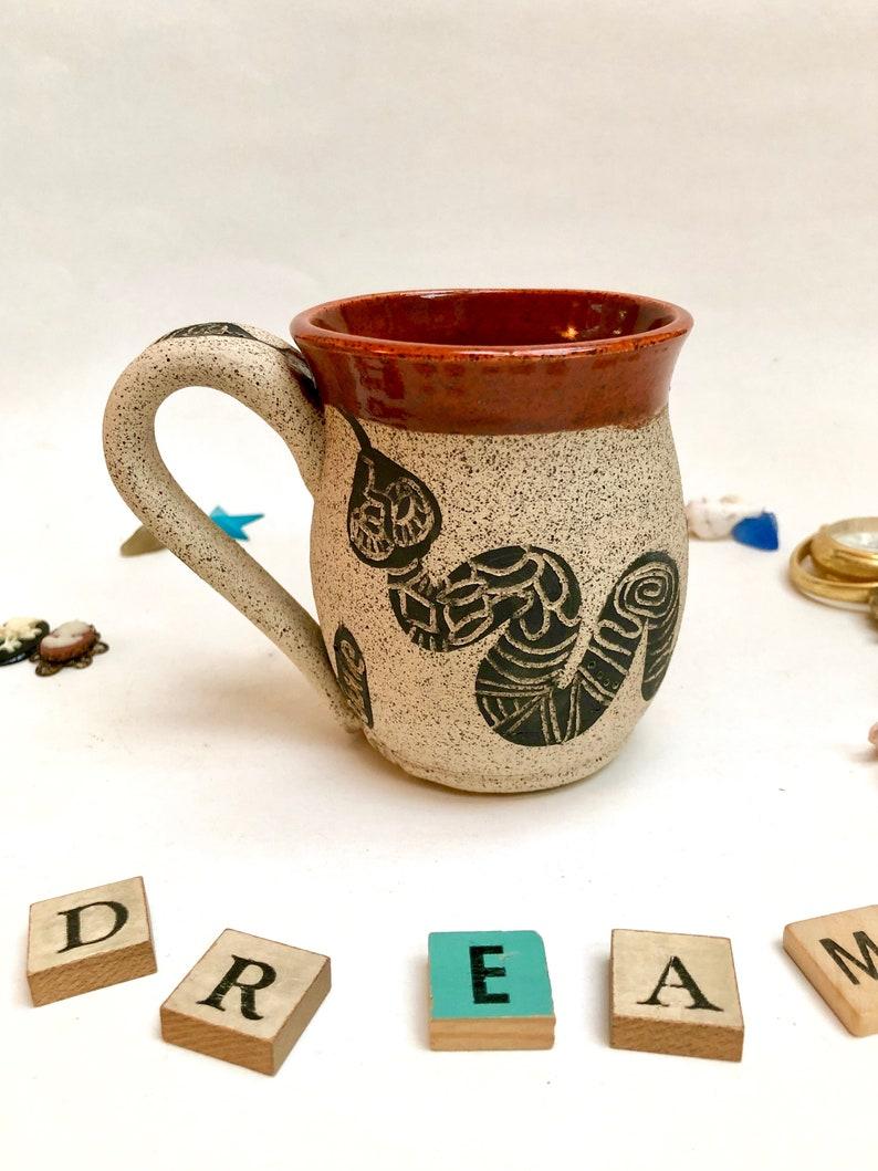 Pottery Mug Handmade Stoneware Mug Serpent Valentines Day image 0