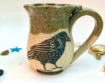 Mug, Handmade Stoneware Mug, Raven, Halloween Gift, Mom Gift