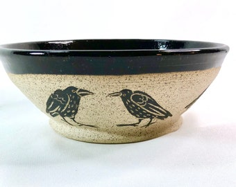 Pottery, Ceramic Bowl, Handmade, Raven, Halloween Gift, Wife Gift