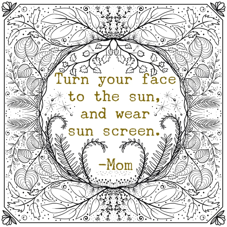 Adult Coloring page  download  mom quote  adult coloring image 0
