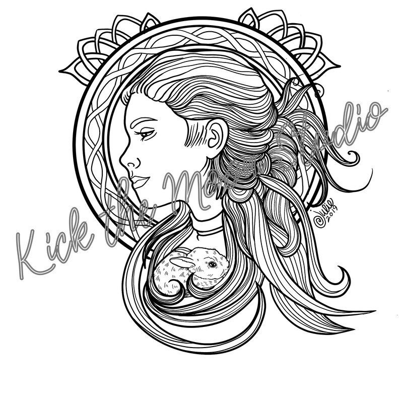 Adult Coloring page  download  FAIRY and rabbit  adult image 0