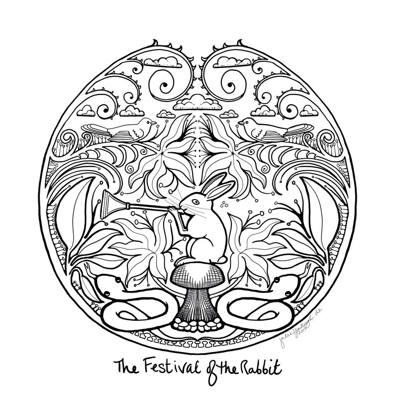Adult Coloring page  download  Rabbit Festival  adult image 0