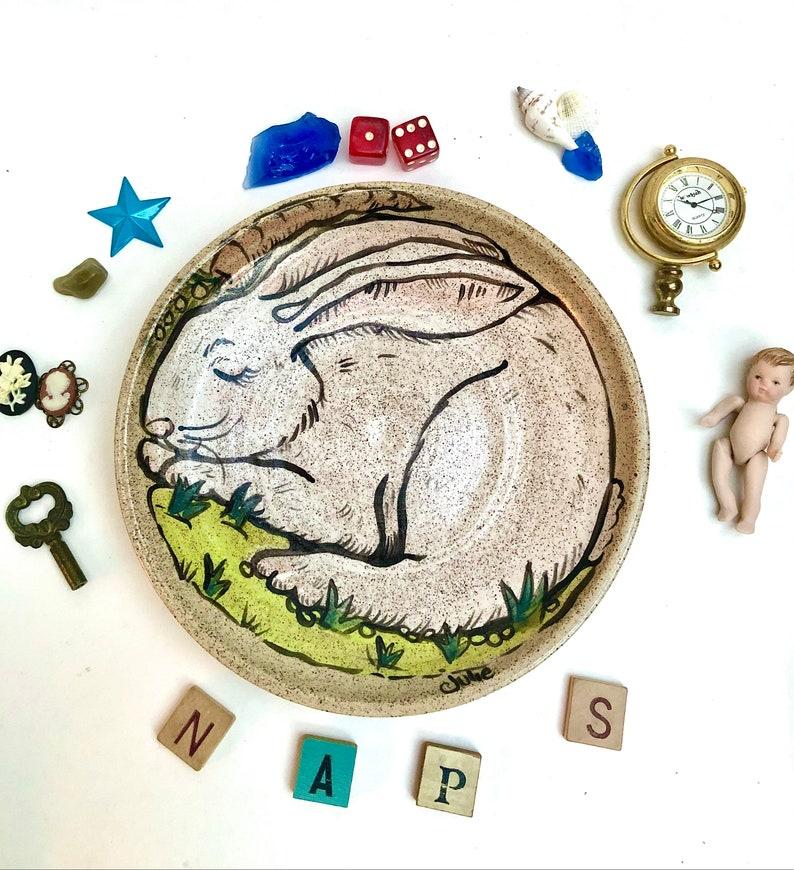 Ceramic Plate Rabbit Easter Gift Girlfriend Gift image 0