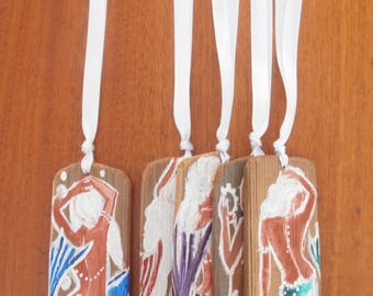 One Beautiful Hand Painted Mermaid Ornament/Favor  or a SET OF FIVE
