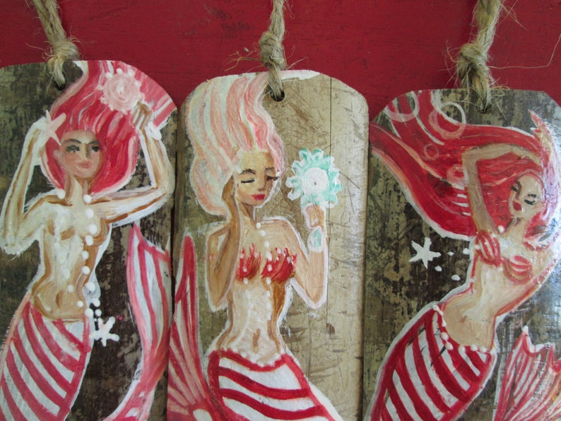 coastal christmas Mermaid ornaments candy cane ornaments whole sale home decor,rustic mermaid decor Coastal christmas