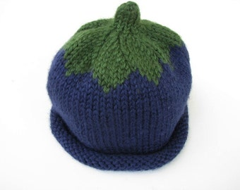 Baby Infant Blueberry Hat Hand Knit