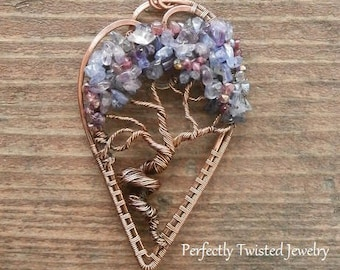 MADE TO ORDER Wire Wrapped Tree of Life Bonsai Pendant Tanzanite, Iolite, Tourmaline Handmade wire Jewelry Perfectly Twisted Jewelry