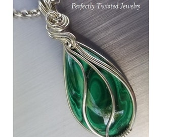Malachite and Fine Silver Wire Wrapped Pendant handmade by Perfectly Twisted Jewelry Designer Cabochon Wire Wrapped Necklace