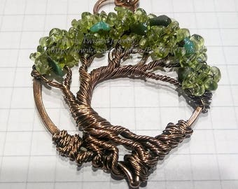 MADE TO ORDER Wire Wrapped Tree of Life Pendant, Peridot & Aventrine Green Beads, Handmade Jewelry Copper Wire Jewelry August May Birthstone