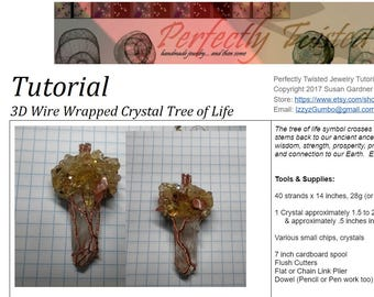Wire Wrap TUTORIAL 3D Tree of Life Crystal Pendant, how to wire wrap, DIY Wire Wrap Tree tutorial, Tree of Life Perfectly Twisted Jewelry