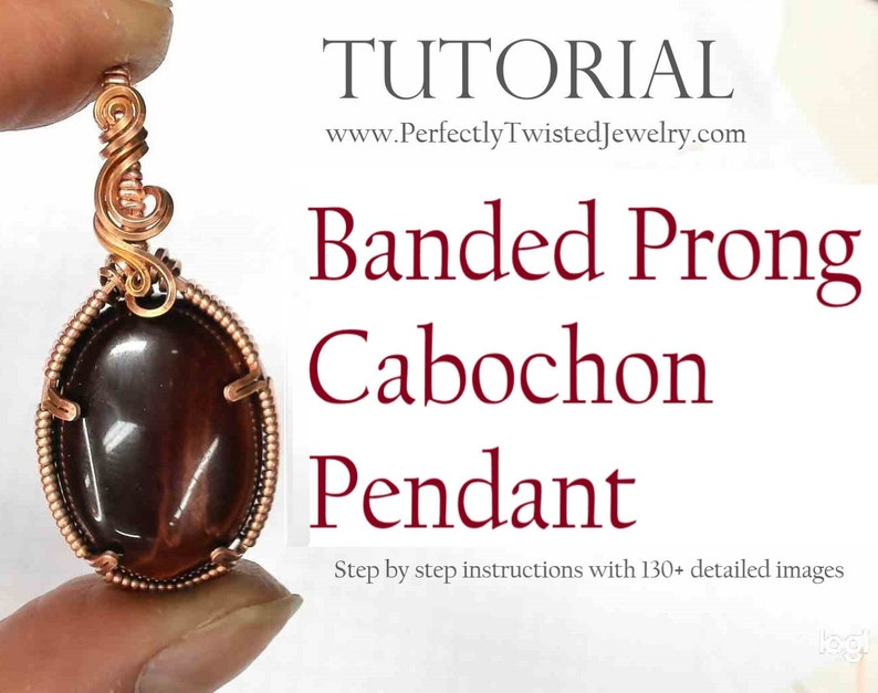 TUTORIAL Wire Wrapping Banded Prong Cabochon Pendant Step by image 0