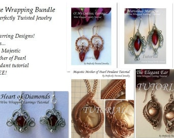 TUTORIALS Four Wire Wrapped, Weaved earring patterns plus a FREE Pendant Pattern, Perfectly Twisted Jewelry tutorials