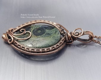 Wire Weaved Copper and Green Jasper Pendant, Handmade Wire Wrapped Jewelry by Perfectly Twisted Jewelry, Copper Wire Weaved Jasper Necklace