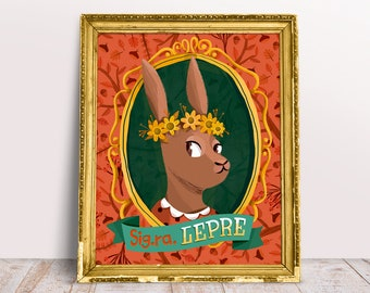 PRINT Hare poster, dapper animal illustration, children poster, rabbit illustration for nursey and kids room