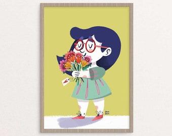 Mädchen mit blumenillustration, Vintage Darstellung, Posterdruck, Feder-Print, Drucke Poster für Kinderzimmer, Kinder Wandkunst, Blume-Plakat