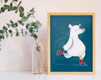 Print polar bear with ice skate, nature illustration, funny children poster, for nursey, craft room, kids room