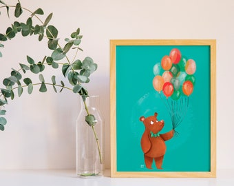 POSTER bear with balloons, teddy bear illustration, children poster, print for nursey, craft room, kids room, illustration print for bebè