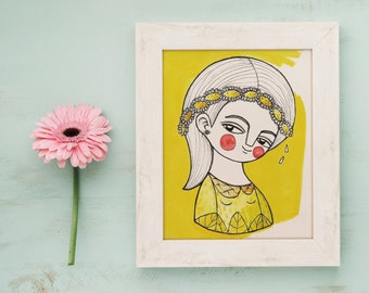 Postcard art, tiny postcard, postcard wall art, yellow daisy postcard, girl postcard, flower card, print portrait, kids postcard