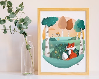 Print Fox & Robin in the woods, kids print, nursery decor, kids room poster, fox print, nursery animal wall art, woodland animals, fox print