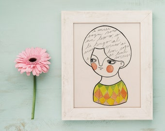 Illustrated postcard, portrait postcard, tiny drawing, watercolor and ink illustration, postcard for framing, watercolor and ink print