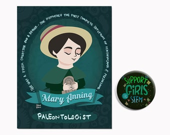 Support girls in STEM, steminist gifts, pin and postcard
