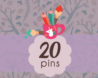 Pins set, 20 illustrated brooches, brooches set, pin buttons bundle, pins for friends, button pins for backpack, backpack pins, button badge
