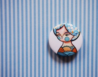 Pin button, girl portrait, summer girl pin, blue button brooch, badge, pin buttons, gift for teenager, tiny brooch, gift for best friend