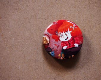 Autumn pins, illustrated button pin, gift under 10 dollars, gift for teenager, pin back buttons, autumn brooch, backpack pins, backpack pin