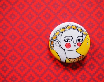 Daisy pin badge, flowers pin button, daisy brooch, daisy gift, daisy pin, yellow daisy brooch, backpack pin, button brooches and pins