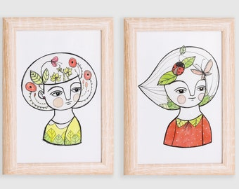 POSTCARDS SET ladybug & flower girl, illustrated cards, gift for her, gift for nurse, gift for naturalist, postcard sale, postcard spring