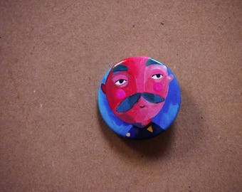 Button pin, mustache man, man pin, pin buttons, gift for dad, tiny brooch, little pin for dad, illustrated pin, mustache brooch